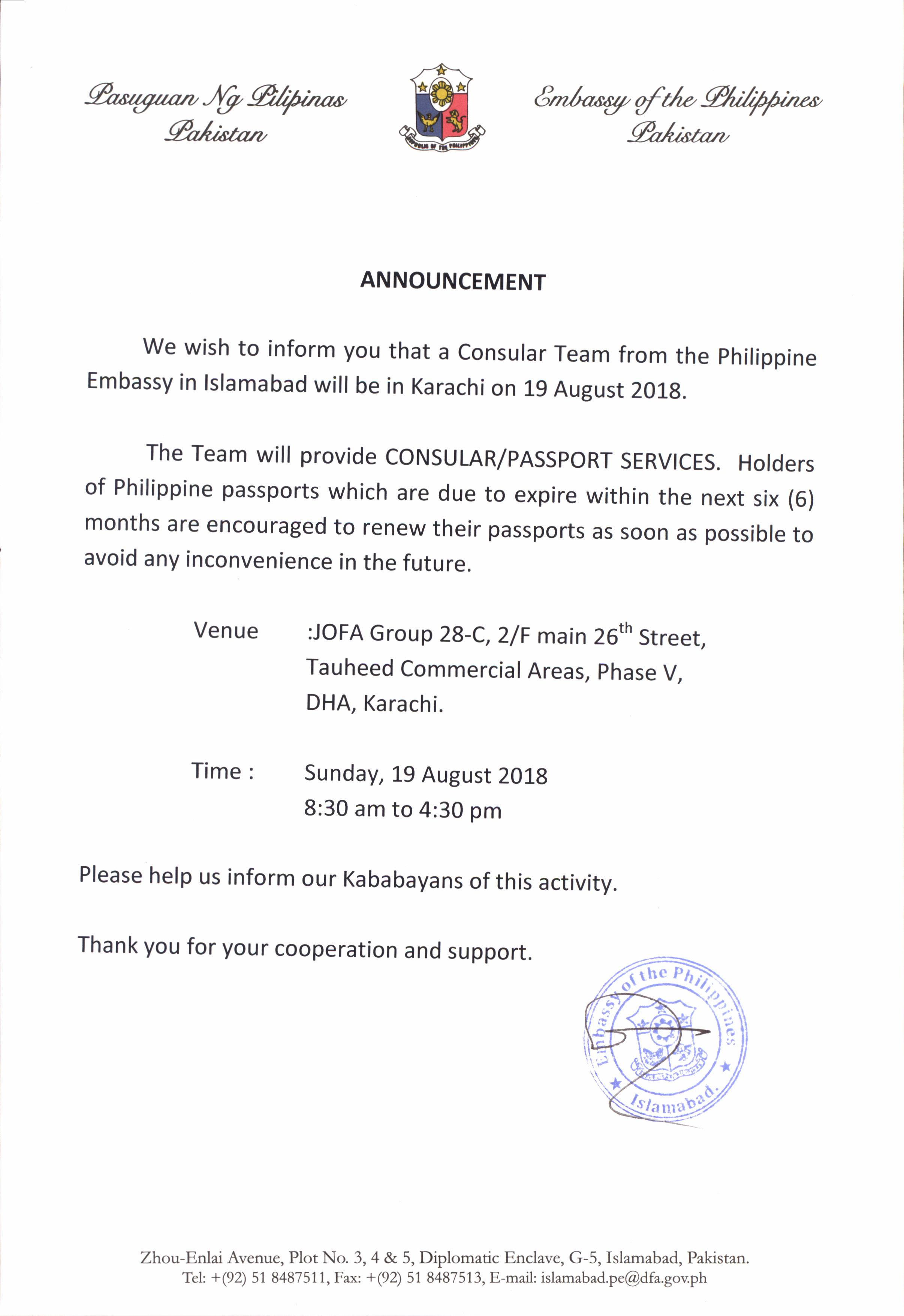 Philippine Embassy News/Announcement